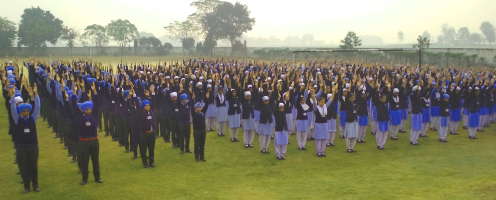 Students doing Exercise in Morning Assembly